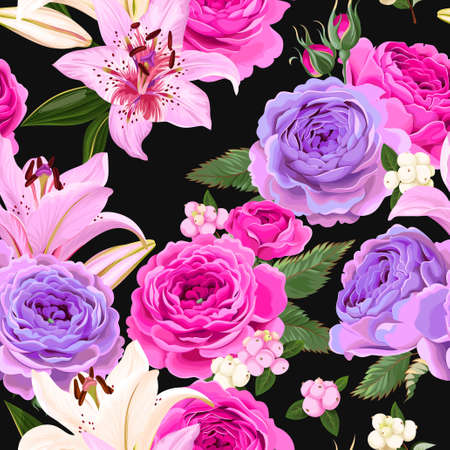 winter garden: Seamless pattern with roses and berries