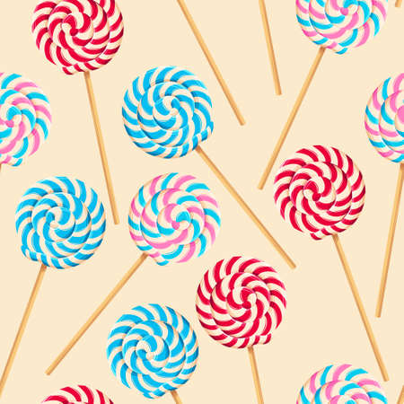 Seamless pattern with striped lollipops