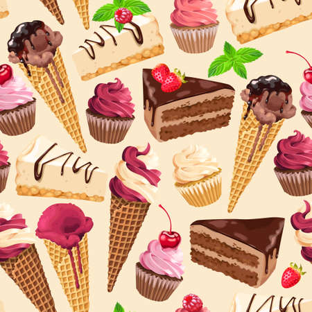Seamless pattern with sweets Illustration