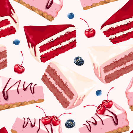Vector seamless background with cakes