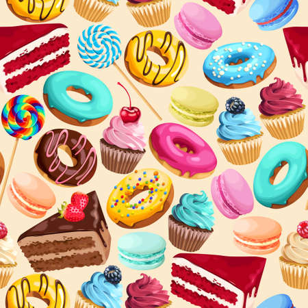 macaron: Seamless pattern with sweets Illustration