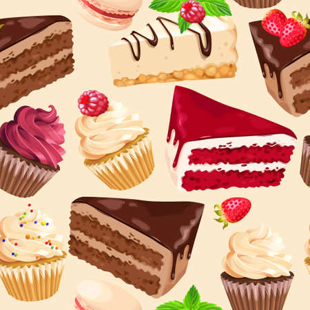 Sweet dessert pattern. Illustration