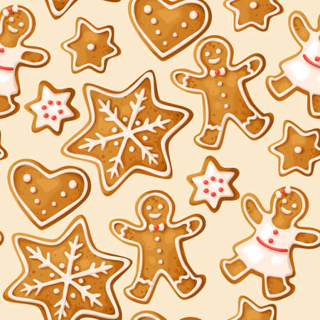 Winter seamless patterns with gingerbread cookies