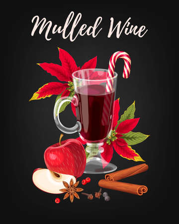 Winter card with mulled wine, poinsettia and apple in black background. Illustration