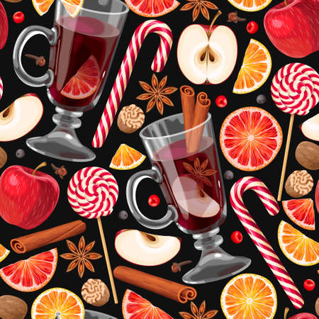 A Seamless pattern with glass of mulled wine and slice of citrus and apple.