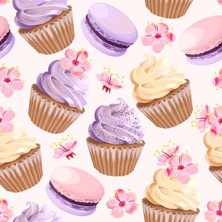 Bezszwowe babeczki i kwiaty ilustracji wektorowych. Ilustracje wektorowe