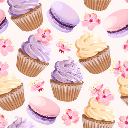 Seamless cupcakes and flowers Vector illustration. Çizim