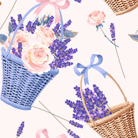 Basket with roses and lavender vector seamless background