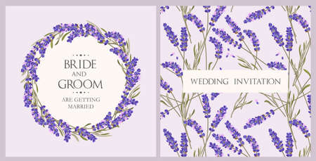 Wedding invitation with lavender.