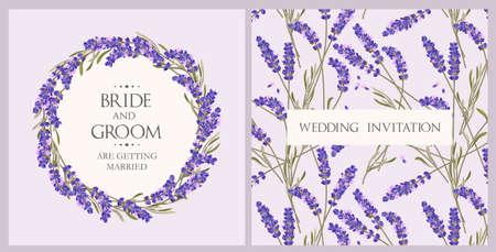 Wedding invitation with lavender.