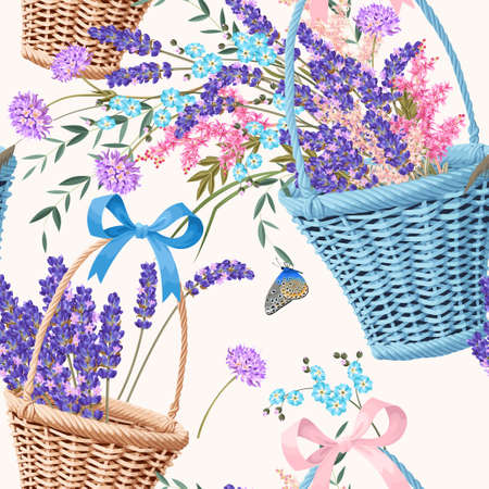 Basket with lavender and other flowers vector seamless background