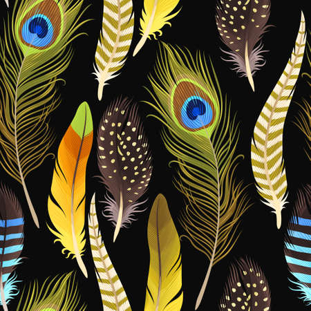 Vector seamless background with decorative vibrant feathers. Stock Illustratie
