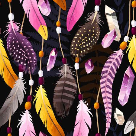 装飾的な鮮やかな羽を持つベクトルシームレスな背景