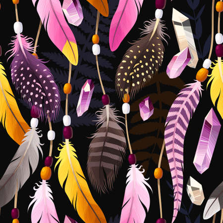 Vector seamless background with decorative vibrant feathers