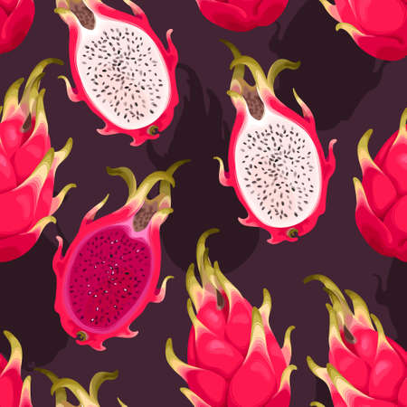 Seamless vector pattern with dragon fruit Illustration