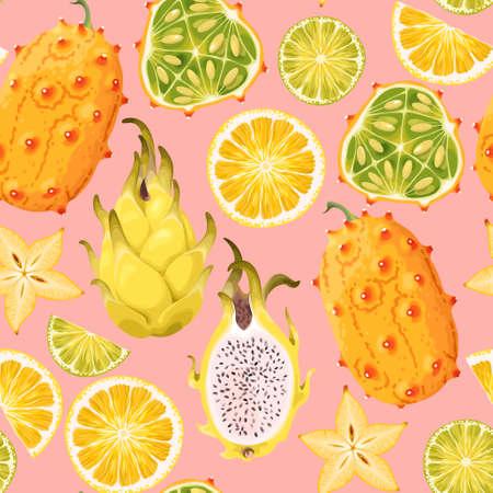 Exotic fruits seamless pattern.