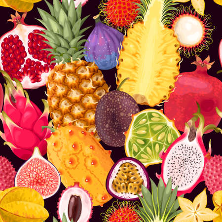 Seamless exotic different fruits.