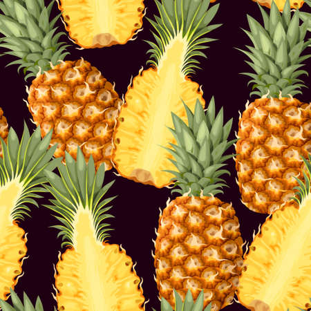Seamless pattern with pineapple fruits Illustration