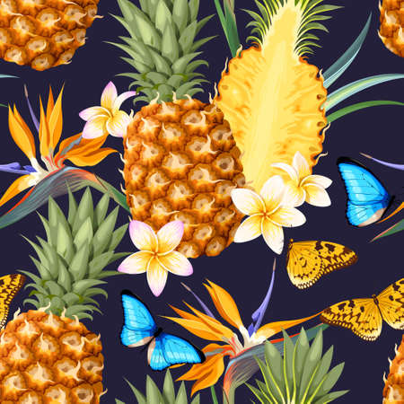 Seamless pattern with pineapple fruits with flowers and butterflies. Иллюстрация