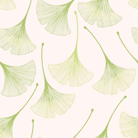 Seamless floral pattern with ginkgo leaves