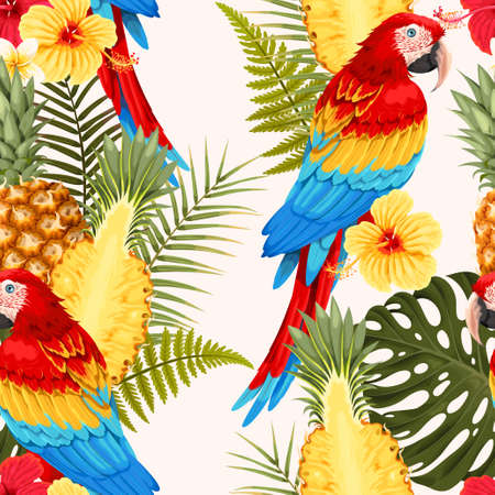 Seamless macaw, pineapple and flowers pattern