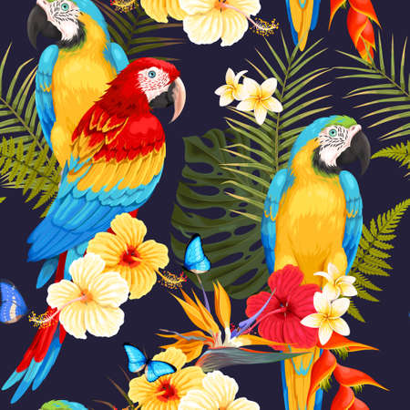 A Seamless macaw and flowers illustration