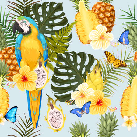 A Seamless macaw, pineapple and flowers Stock Illustratie