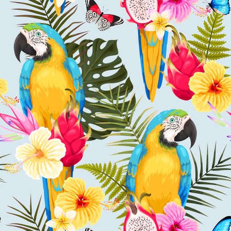 Seamless macaw and flowers 일러스트