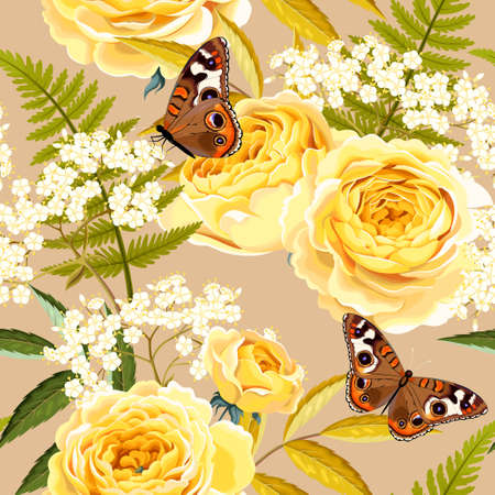 Elderberry, roses and butterflies vector seamless background Stock Illustratie