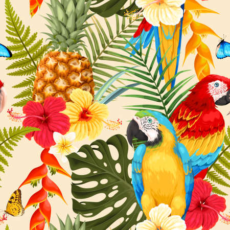 Seamless macaw, pineapple and flowers illustration.