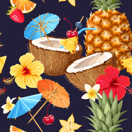 Summer seamless cocktail background Illustration