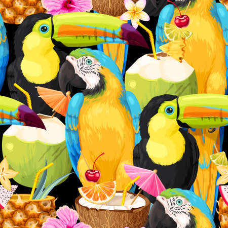 Macaw, toucan and tropical cocktails pattern