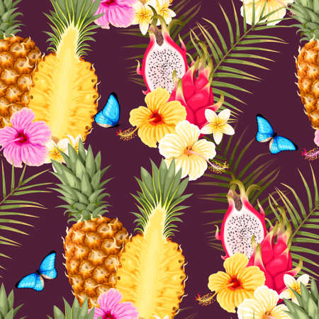 Seamless pattern with pineapple fruits Иллюстрация