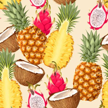 Tropic fruits seamless Vectores