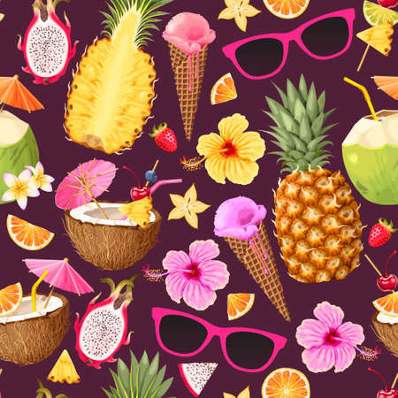 Tropic summer pattern with icecream, fruits and cocktails
