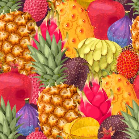 Seamless exotic fruit pattern design Illustration