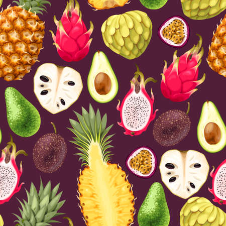 Seamless vector pattern with tropical fruit on dark background