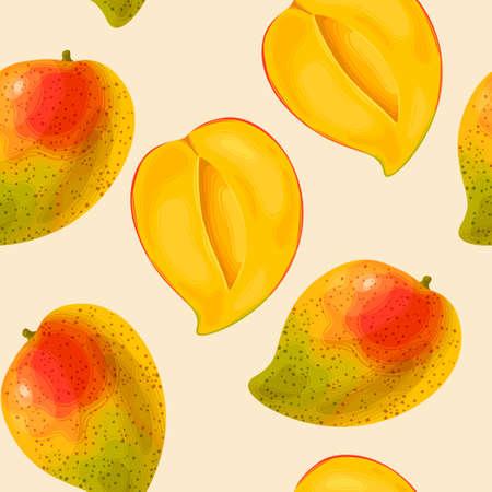 Mango fruit illustration in seamless pattern