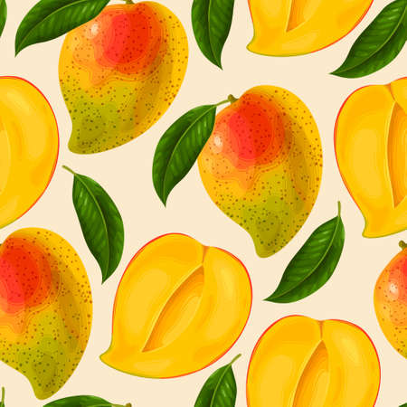 yellow fruits seamless pattern background Vector illustration.