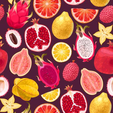 Naadloos vectorpatroon met tropisch fruit op donkere achtergrond