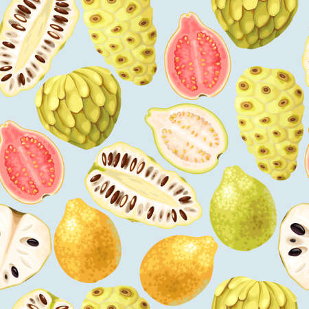 Cherimoya, noni and guava vector seamless background Çizim