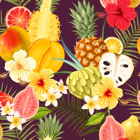Seamless pattern with tropical fruits Illustration
