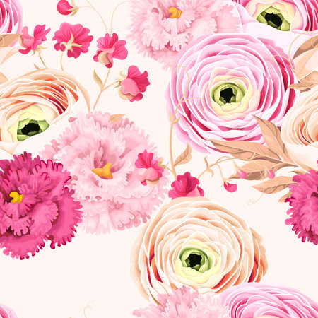 Seamless pattern with eustoma and ranunculus Illustration
