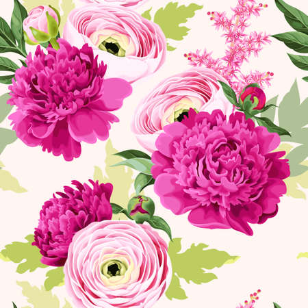 Seamless pattern with peony and ranunculus