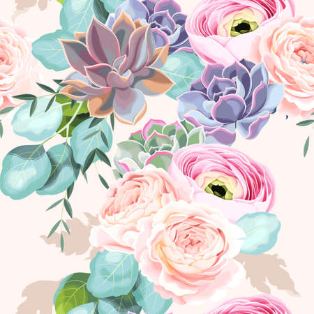 Seamless flowers and succulents Ilustrace