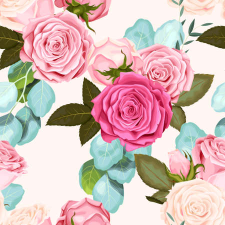 Seamless pattern with roses Illustration
