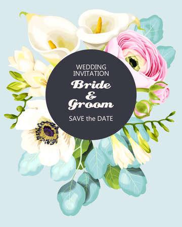 Vintage wedding invitation Vectores