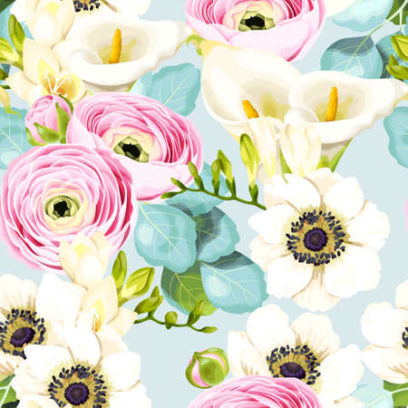Vector floral seamless pattern with calla and ranunculus Stock Illustratie