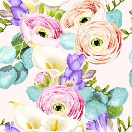Seamless pattern with calla and ranunculus Vectores