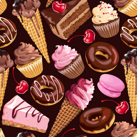 Chocolate sweets seamless pattern